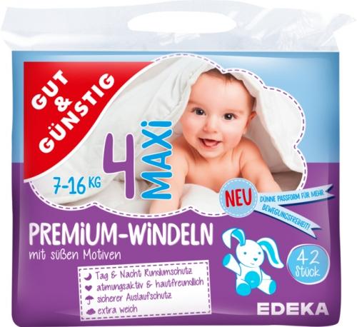 Windeln Premium maxi 7-18 kg, Dezember 2017