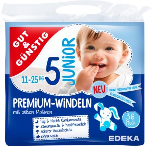 Windeln Premium junior 11-25 kg, Dezember 2017