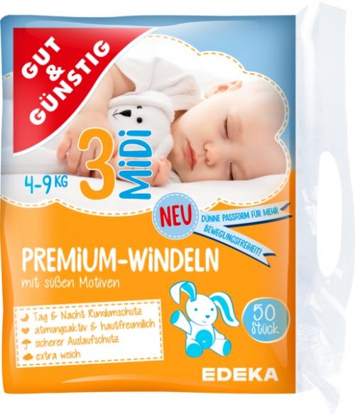 Windeln Premium midi 4-9 kg, Dezember 2017