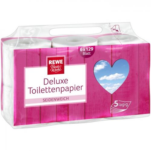 Deluxe-Toilettenpapier 5-lagig, 6x129 Blatt, Dezember 2017