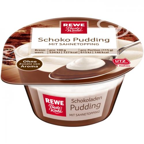 Schoko-Pudding mit Sahnetopping, Juli 2017