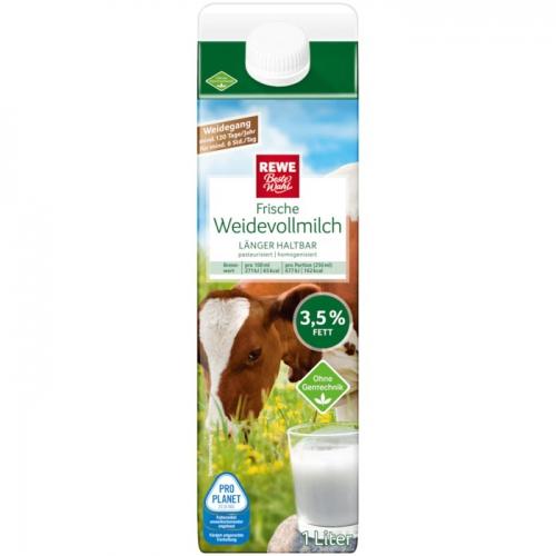 Frische Weidevollmilch, 3,5% Fett, Mai 2018