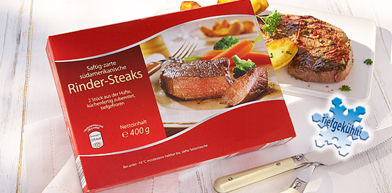 Rinder-Steaks, 2er, April 2012