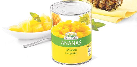Ananas-Stücke, August 2010
