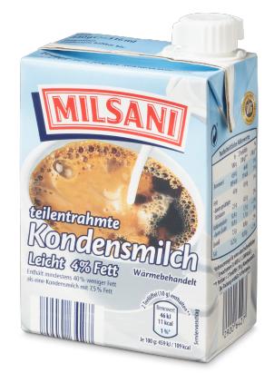 Kondensmilch, 4% Fett, August 2017