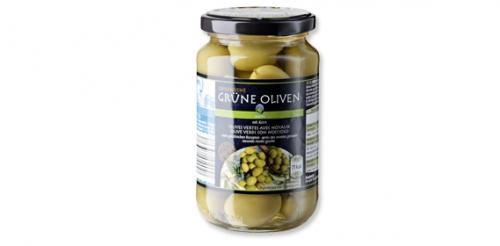 Griechische Oliven,  grün mit Kern, Februar 2014