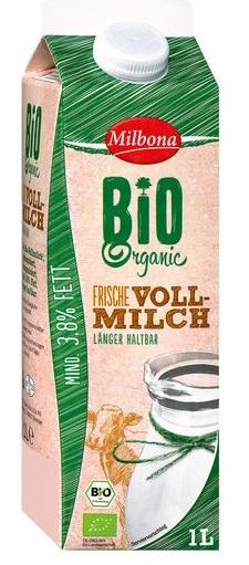 Bio-Vollmilch, 3,8% Fett, Juli 2017