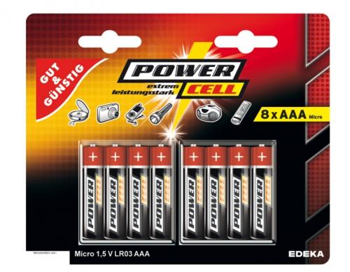 Batterien, 1,5 V, Micro, AAA, LR03, Januar 2018