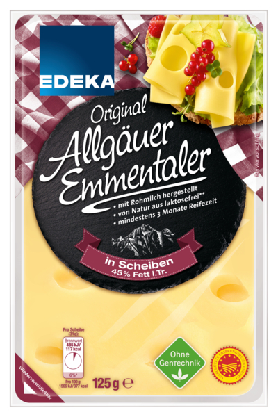 Allgäuer Emmentaler in Scheiben 45%, Januar 2018