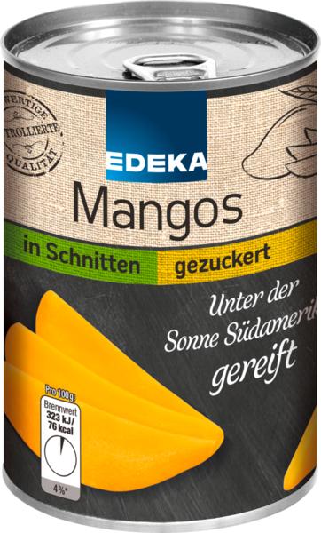 Mangos geviertelt, geschält und gezuckert, Januar 2018