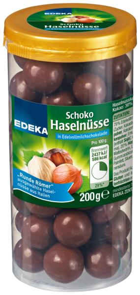 Schoko Haselnüsse in Vollmilchschokolade, Januar 2018