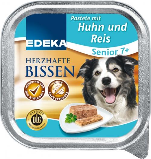 Herzhafte Bissen Senior - feine Pastete mit Huhn & Reis, Januar 2018