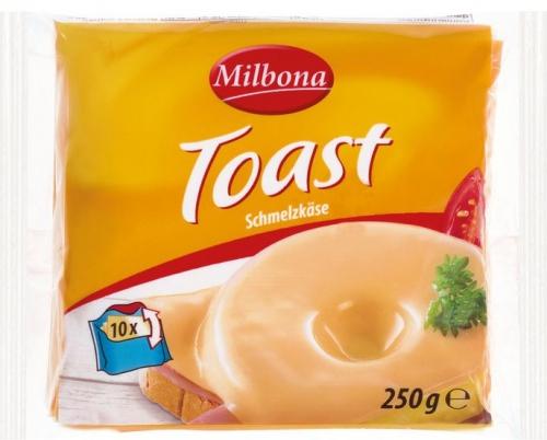 Schmelzkäsescheiben, Toast, August 2017