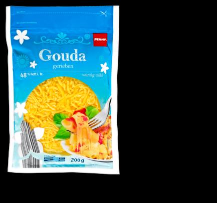 Gouda, gerieben, Juli 2016