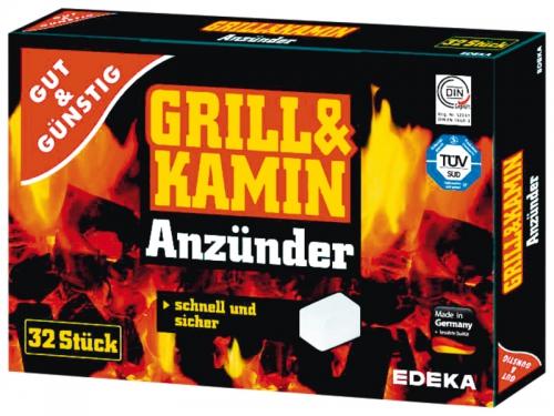 Grill- & Kaminanzünder aus Paraffin, 32St, Januar 2018