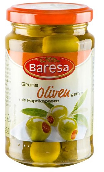 Grüne Oliven mit Paprikapaste, Juni 2017
