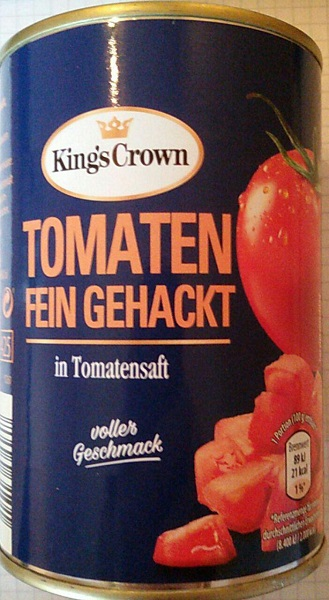 kings crown tomaten fein gehackt von aldi nord. Black Bedroom Furniture Sets. Home Design Ideas