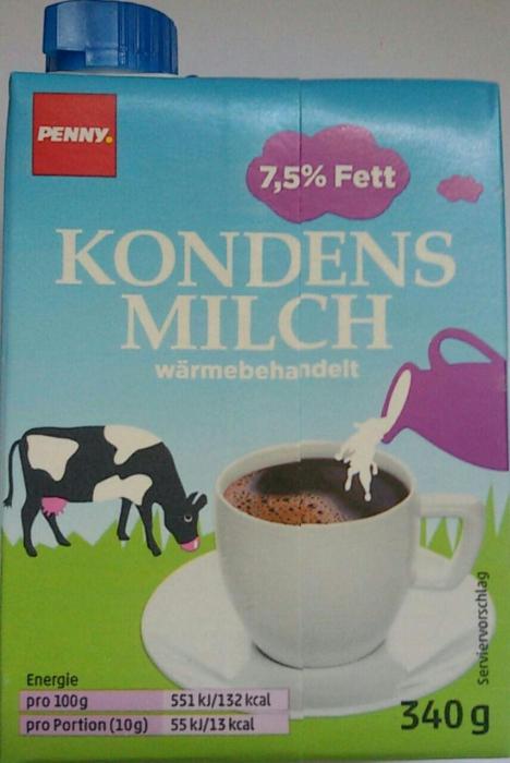 Kondensmilch, 7,5 % Fett, Juni 2017