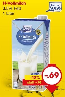 H-Vollmilch, 3,5% Fett, Mai 2018