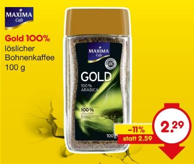 Löslicher Bohnenkaffee Gold, Mai 2018