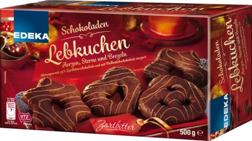 Schokoladenlebkuchen Zartbitter Herzen, Sterne & Brezeln Zartbitter, Januar 2018