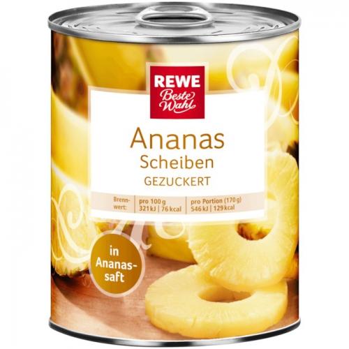 Ananas-Scheiben, gezuckert, November 2017