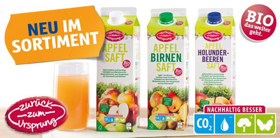 Bio Apfelsaft-Sortiment (Zurück zum Ursprung), Oktober 2012