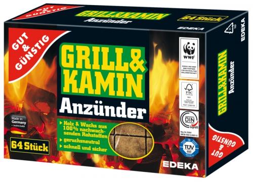 Grill & Kamin Anzünder aus Holz & Wachs, Januar 2018