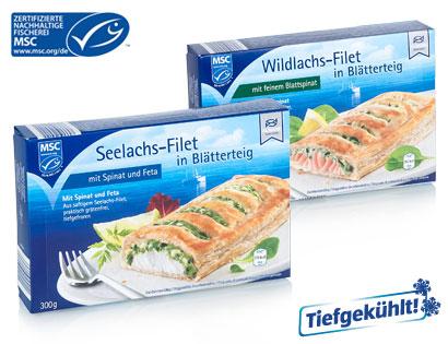 MSC Fischfilet in Blätterteig, Seelachs mit Spinat und Feta, Januar 2014