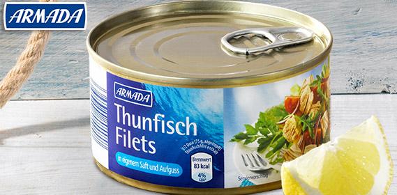 Thunfischfilets in eigenem Saft und Aufguss, August 2012