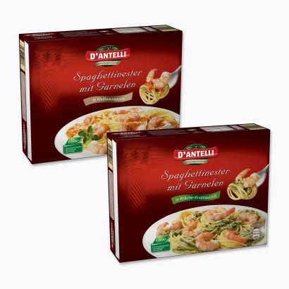 Spaghettinester mit Garnelen, Dezember 2012