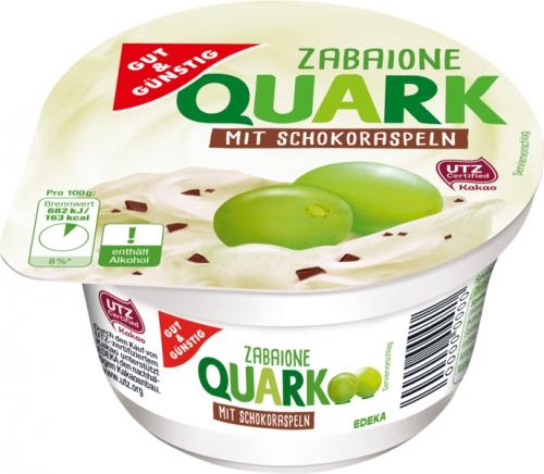 Zabaione Quark mit Schokoraspeln, Januar 2018