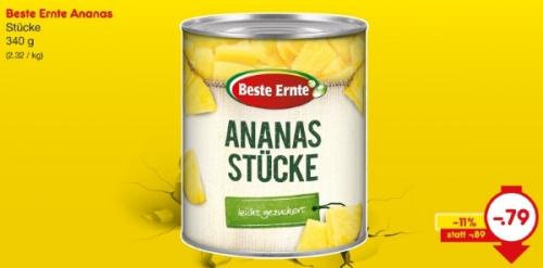 Ananas-Stücke, Juni 2018