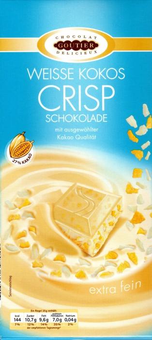 Feine weiße Kokos Crisp Schokolade, Januar 2013