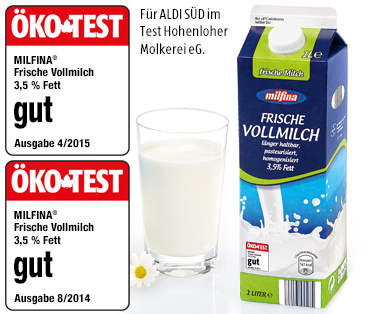 Frische Vollmilch, ESL, 3,5% Fett, April 2016