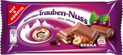 Alpenrahm-Traube-Nuss-Schokolade, Januar 2018