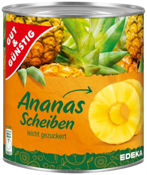 Ananas ganze Scheiben, Januar 2018