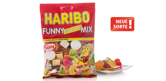 Haribo Funny Fruity-Mix, 300 g Beutel, Dezember 2013