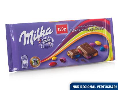 Milka Alpenmilch-Schokolade Bunte Kakaolinsen, Februar 2014