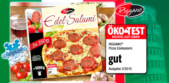 Edel-Salami-Pizza, 3x 350 g, Juli 2010