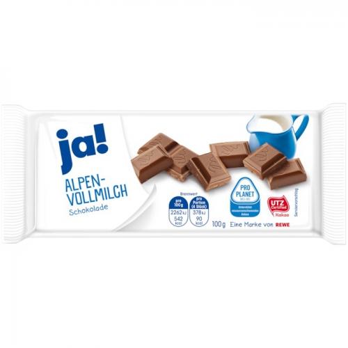 Schokolade Alpenvollmilch, Januar 2018