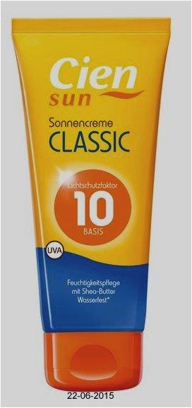 Sonnencreme Classic LSF 10, Juli 2015