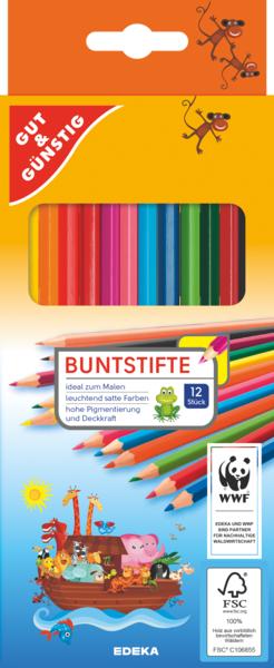 Buntstifte, 12 Farben, Januar 2018