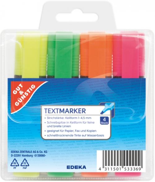 Textmarker gelb, grün, orange, pink, Januar 2018