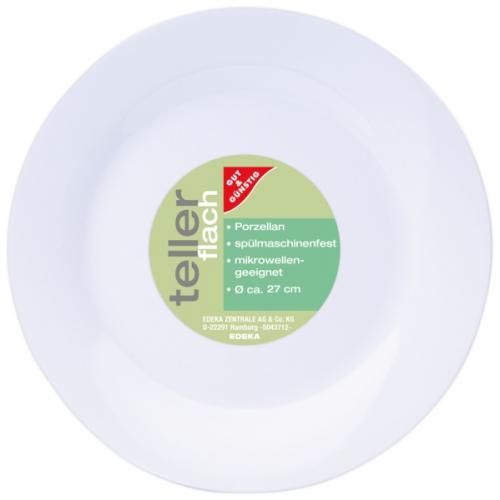 Teller Porzellan flach Ø 27 cm, Januar 2018