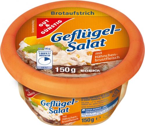 Brotaufstrich Geflügel-Salat, Januar 2018