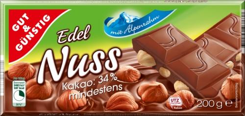 Schokolade Edel-Alpenrahm-Nuss, Januar 2018