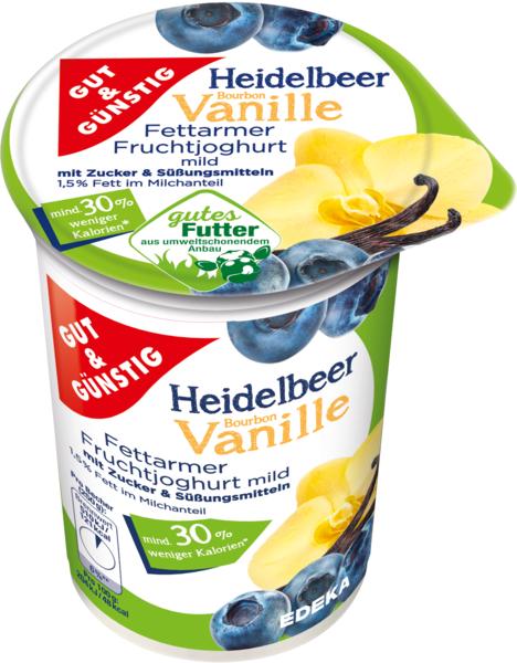Fettarmer Fruchtjoghurt 1,5% Fett Heidelbeere-Vanille, Januar 2018