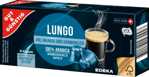 Kaffeekapseln Lungo, Februar 2018