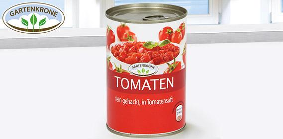 Tomaten, fein gehackt, in Tomatensaft, August 2012